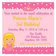 Princess Birthday Invitation 5.25 x 5.25 Flat Card