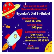 Outer Space Kids Birthday Invitation 5.25 x 5.25 F