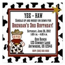 Cowboy Boys Birthday Invitation 5.25 x 5.25 Flat C