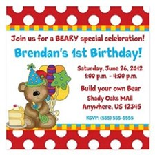 Bear Birthday Invitation Invitations