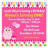 Birthday owl Invitations & Announcements