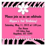 Pink Zebra Invitation 5.25 x 5.25 Flat Cards
