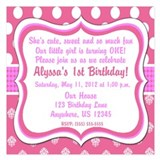 Pink Dot Damask Invitation 5.25 x 5.25 Flat Cards