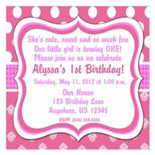 Pink Dot Damask Invitation Invitations
