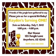 Giraffe 1st Birthday Invitation 5.25 x 5.25 Flat C