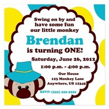 Boys Monkey Invitation 5.25 x 5.25 Flat Cards