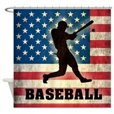 Grunge USA Baseball Shower Curtain