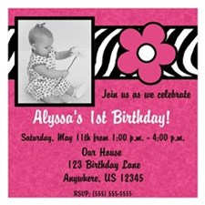 Pink Zebra Photo Invitations