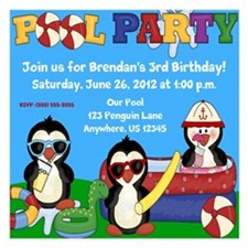 Pool Party Penguins Invitations