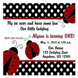 Ladybug Girls Invitation 5.25 x 5.25 Flat Cards