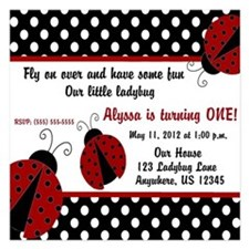 Ladybug Girls Invitation Invitations