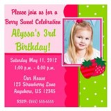 Strawberry Girls Birthday Invitation 5.25 x 5.25 F