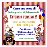 Kids Circus Birthday Invitation 5.25 x 5.25 Flat C