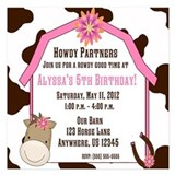 Cow Print and Horse Birthday Invitation 5.25 x 5.2