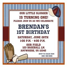 Baseball Boys Birthday Invitation 5.25 x 5.25 Flat
