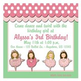 Ballet Birthday Invitation 5.25 x 5.25 Flat Cards