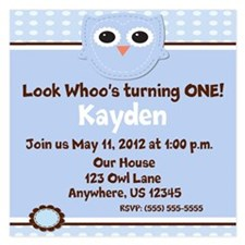 Owl Boys Invitation 5.25 x 5.25 Flat Cards