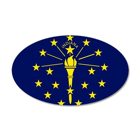 Indiana State Flag 35x21 Oval Wall Decal