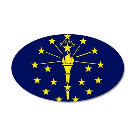 Indiana State Flag 20x12 Oval Wall Decal