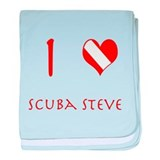 I Love Scuba Steve (red) baby blanket