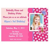 Pink Butterfly Birthday Invitation 5x7 Flat Cards