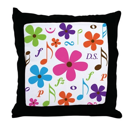 Music Funky Flower Throw Pillow