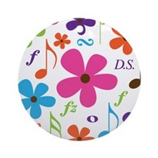 Music Funky Flower Ornament (Round)