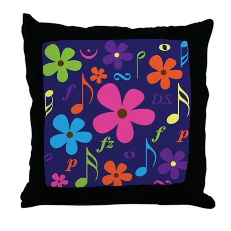 Musical Collage Band Choir Throw Pillow