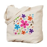 Music Funky Flower Tote Bag