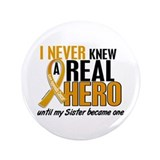 "Never Knew a Hero 2 Appendix Cancer 3.5"" Button"
