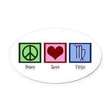 Peace Love Virgo Oval Car Magnet