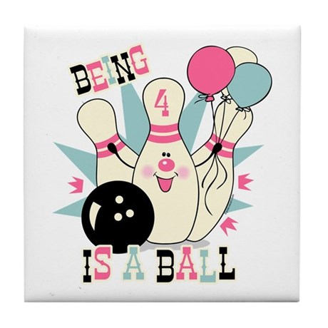 Pink Bowling Pin 4th Birthday Tile Coaster