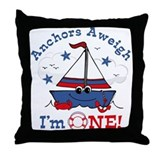Little Sailboat 1st Birthday Throw Pillow