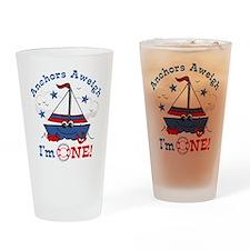 Little Sailboat 1st Birthday Drinking Glass