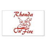 Rhonda On Fire Sticker (Rectangle)