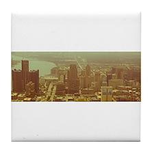 Detroit Skyline with Bridge. Tile Coaster