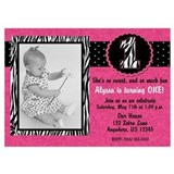 1st birthday pink zebra invitations 5 x 7 Flat Cards