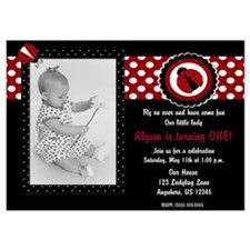 Ladybug Girls Birthday Invitation 5x7 Flat Cards