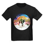 XMusic2-Two Springer Spaniels Kids Dark T-Shirt