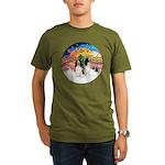XMusic2-Two Springer Spaniels Organic Men's T-Shir