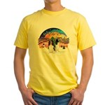 XMusic2-Two Springer Spaniels Yellow T-Shirt