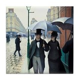 Caillebotte Paris Street Rainy Day Tile Coaster