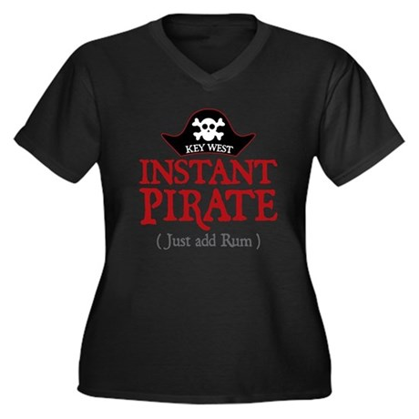 Key West Pirate - Women's Plus Size V-Neck Dark T-