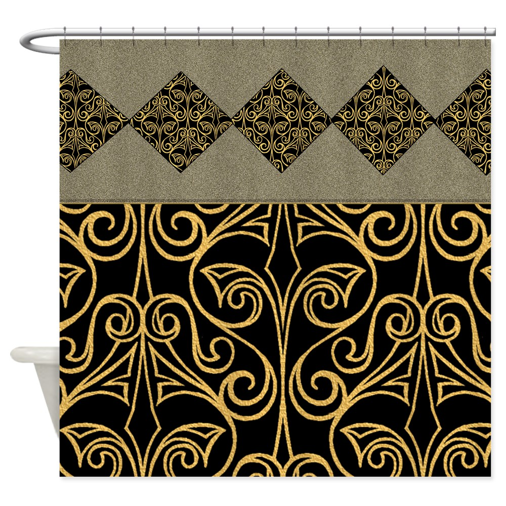 Black and Gold Egyptian Pattern Shower Curta 676686368 | eBay