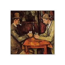 "Paul Cezanne Card Players Square Sticker 3"" x 3"""
