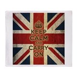 Vintage Keep Calm And Carry On Throw Blanket