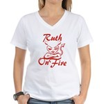 Ruth On Fire Women's V-Neck T-Shirt