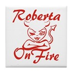 Roberta On Fire Tile Coaster