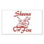 Sheena On Fire Sticker (Rectangle)