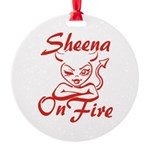 Sheena On Fire Round Ornament